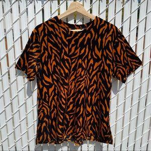 Vintage 90's Velvet Tiger Print Short Sleeved Top